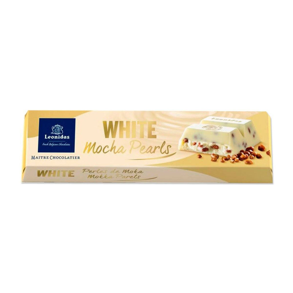White Chocolate Mocha Pearls Bar 50g Classic Leonidas Chocolates-uk
