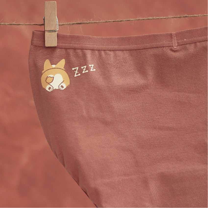 Corgi • Mid Rise Cotton Brief Panty - Peach Fleur