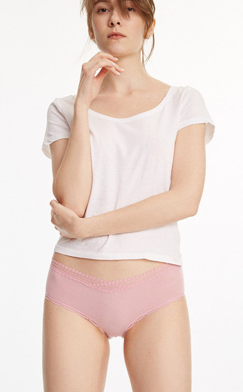 Hygiene Series • Mid Rise Cotton Lace Trim Hipster Panty - Peach Fleur