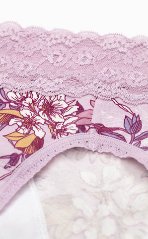 Blossom Flower • Mid Rise Cotton Lace Waist Menstrual Brief Panty - Peach Fleur