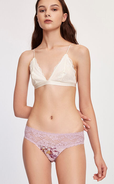 Blossom Flower • Mid Rise Cotton Stretch Lace Waist Brief Panty - Peach Fleur