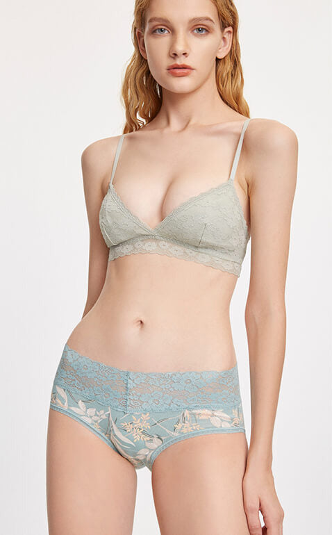 Blossom Flower • Mid Rise Cotton V Lace Waist Brief Panty - Peach Fleur