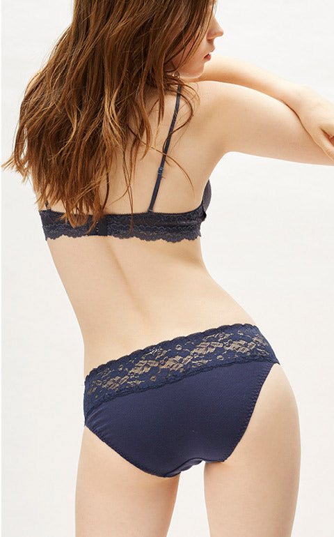 Classic Low Rise Cotton Stretch Lace Waist Brief Panty