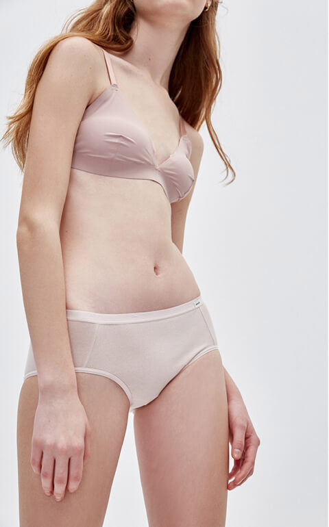 Classic • Mid Rise Cotton Brief Panty - Peach Fleur