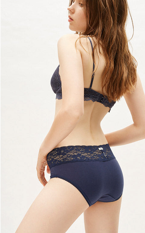 Classic Mid Rise Cotton V Lace Waist Brief Panty