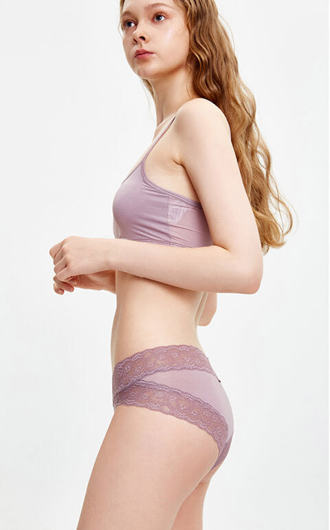 Cool • Mid Rise Lace Detail Hipster Panty - Peach Fleur