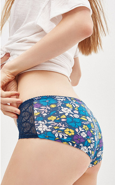 Exotic Garden • Mid Rise Cotton Lace Front Hipster Panty - Peach Fleur