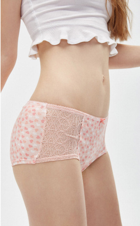First Love • High Rise Cotton Front Lace Hipster Panty - Peach Fleur