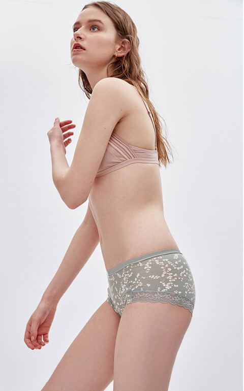 Flower Story • Mid Rise Cotton Lace Side Brief Panty - Peach Fleur