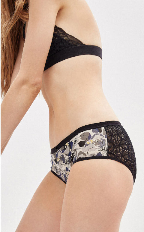 Flower of Dreams • Mid Rise Cotton Lace Back Brief Panty - Peach Fleur