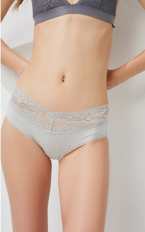 Hygiene Series • Mid Rise Cotton V Lace Waist Brief Panty - Peach Fleur