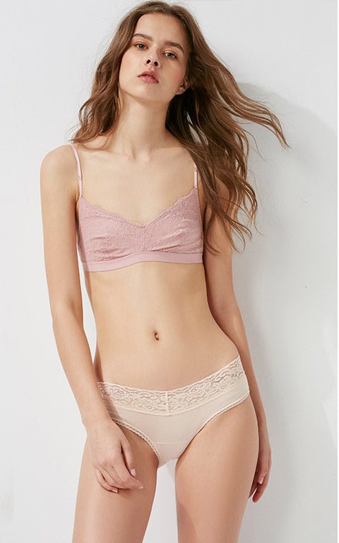 Hygiene Series • Low Rise Cotton V Lace Waist Brief Panty - Peach Fleur