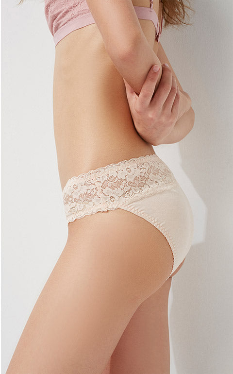 Hygiene Series • Mid Rise Cotton Stretch Lace Waist Brief Panty