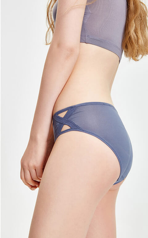Cool • Mid Rise Side Cross Brief Panty - Peach Fleur