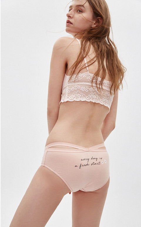 Midsummer Love Song • Mid Rise Cotton Crossed Back Brief Panty - Peach Fleur