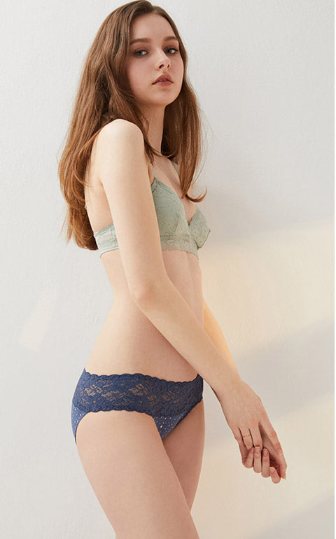 Midsummer Night Sky • Low Rise Cotton Stretch Lace Waist Brief Panty - Peach Fleur