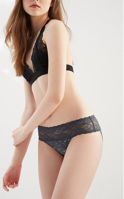 Midsummer Night Sky • Mid Rise Cotton Stretch Lace Waist Brief Panty - Peach Fleur