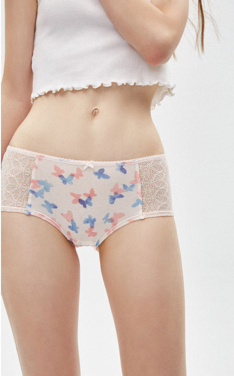 Pink Theater • High Rise Cotton Front Lace Hipster Panty - Peach Fleur