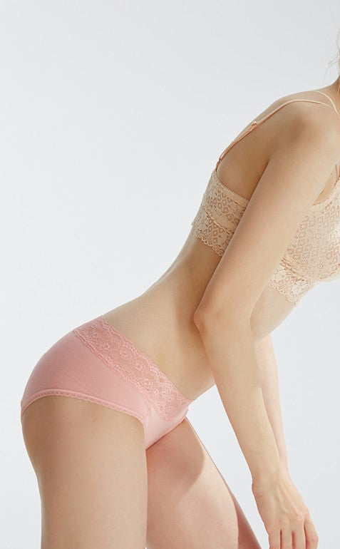 SPRING • Mid Rise Cotton Lace Waist Menstrual Brief Panty - Peach Fleur