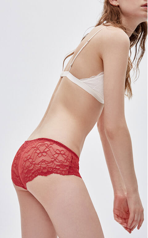 Pure • Mid Rise Floral Lacie Hipster Panty - Peach Fleur