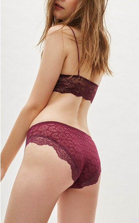 Pure • Mid Rise French Lacie Hipster Panty - Peach Fleur