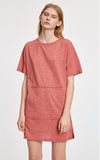 Smoked Retro • Round Neck Short Sleeve Shirt Dress - Peach Fleur