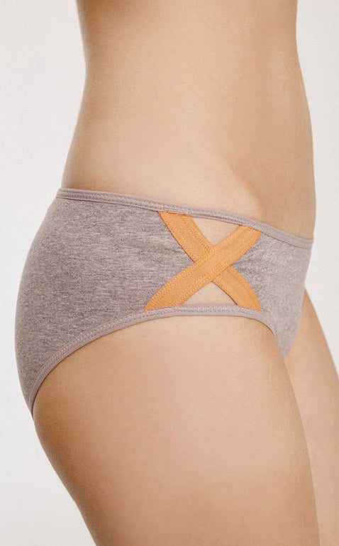 Running • Mid Rise Cotton Side Cross Brief Panty - Peach Fleur