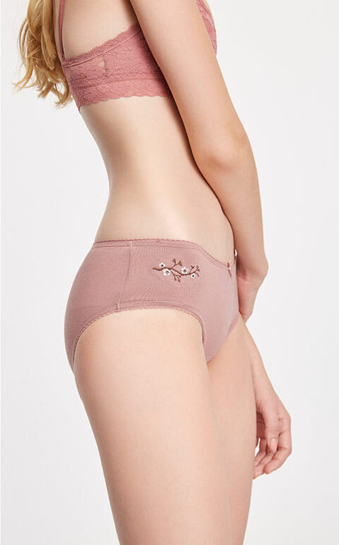 Embroidery Art • Mid Rise Cotton Picot Elastic Brief Panty - Peach Fleur