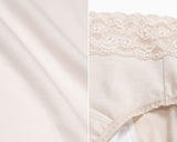 Sleep Tight • High Rise Cotton Lace Waist Menstrual Brief Panty - Peach Fleur