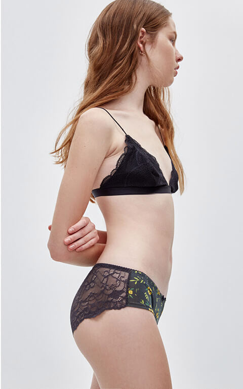 Spring Garden • Mid Rise Cotton Floral Lace Back Hipster Panty