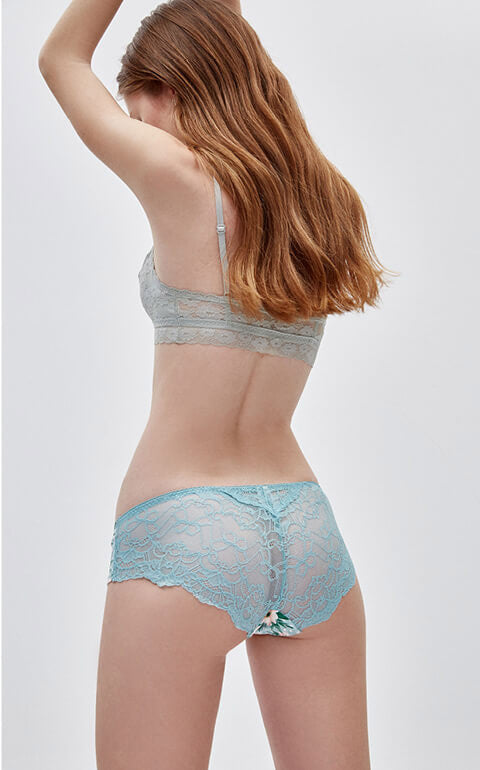 Spring Garden • Mid Rise Cotton Floral Lace Back Hipster Panty - Peach Fleur
