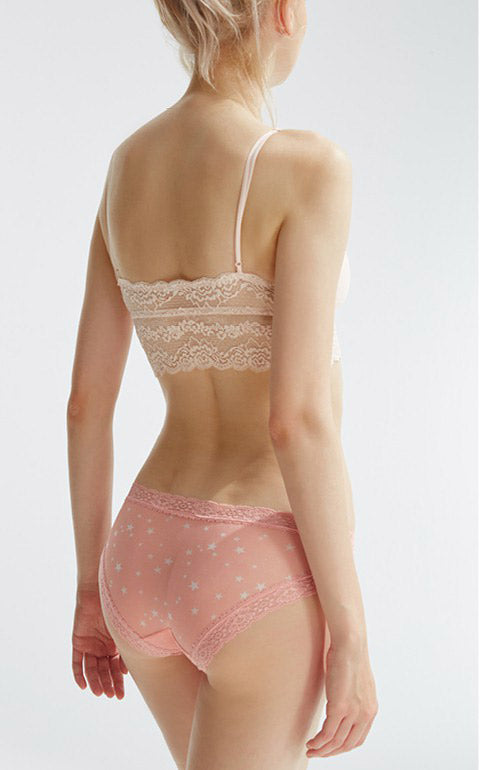 Starlight • Mid Rise Mesh Lace Detail Hipster Panty - Peach Fleur