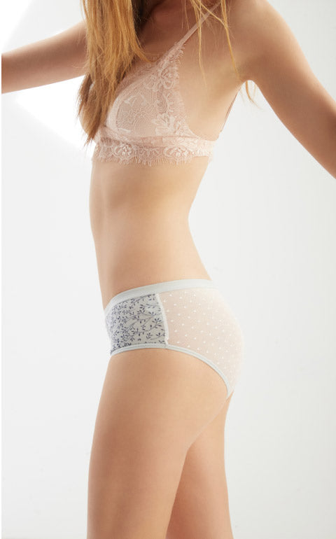Spring Vine • Mid Rise Cotton Mesh Back Brief Panty - Peach Fleur