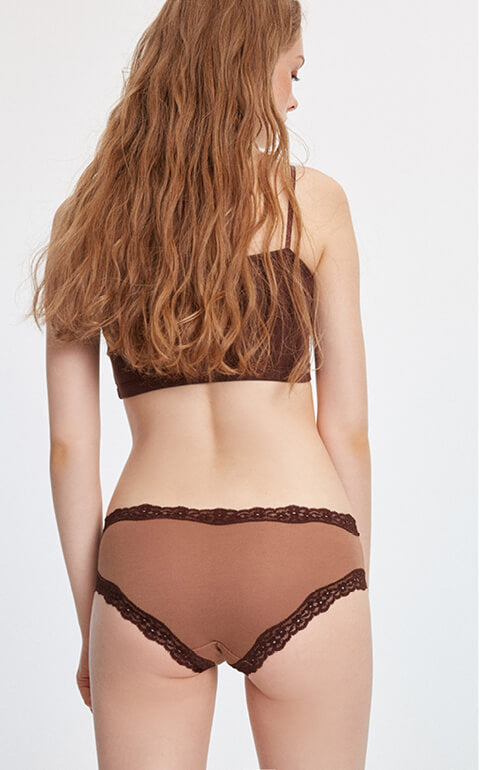Sunrise • Mid Rise Cotton Lace Trim Hipster Panty - Peach Fleur