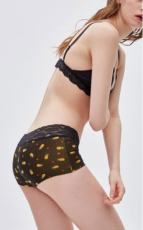 Tropical Paradise • Mid Rise Cotton Lace Waist Shortie Panty - Peach Fleur
