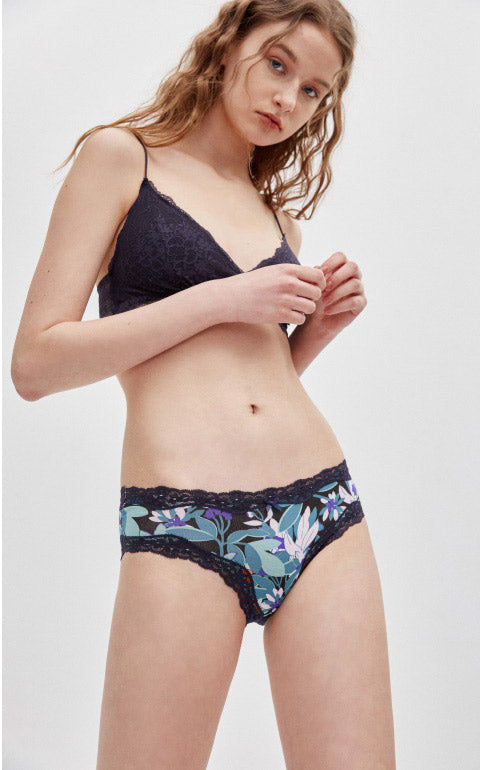 Tropical • Mid Rise Cotton Lace Trim Hipster Panty