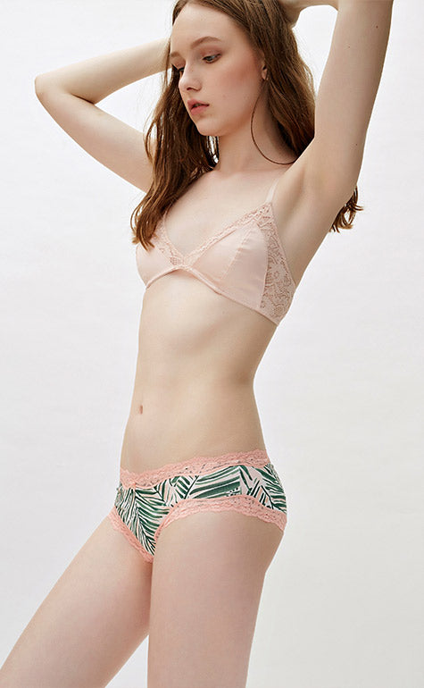 Tropical Paradise • Mid Rise Cotton Lace Trim Hipster Panty - Peach Fleur