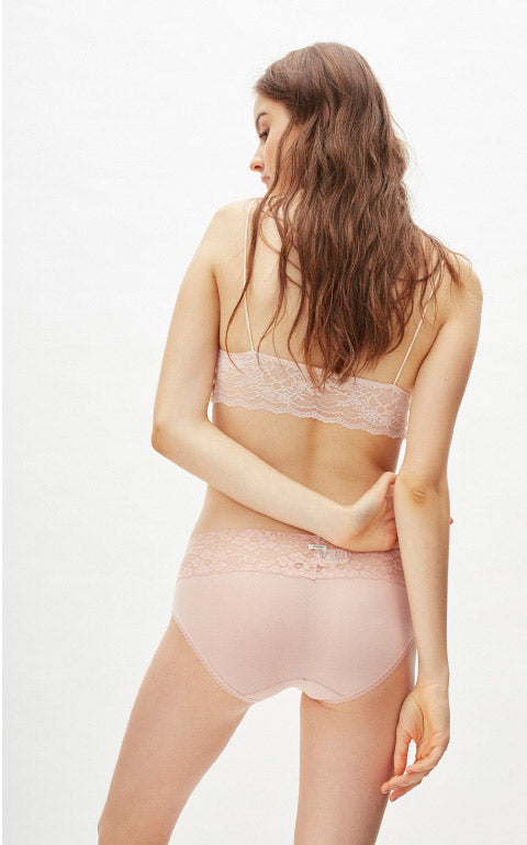 XXL Cool Series • Mid Rise V Lace Waist Brief Panty - Peach Fleur