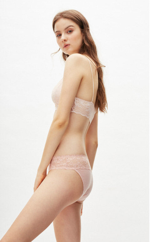 XXL Cool Series • Mid Rise Stretch Lace Waist Brief Panty - Peach Fleur