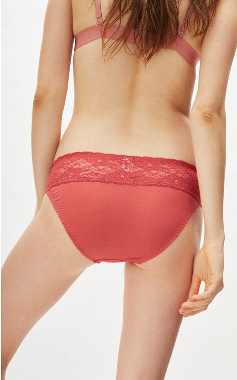 XXL Cool Series • Mid Rise Stretch Lace Waist Brief Panty