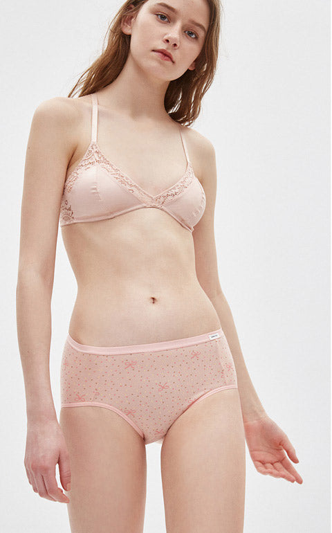 XXL Rosy Summer • High Rise Cotton Brief Panty - Peach Fleur