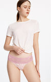 Hygiene Series • Mid Rise Cotton Stretch Lace Waist Brief Panty - Peach Fleur