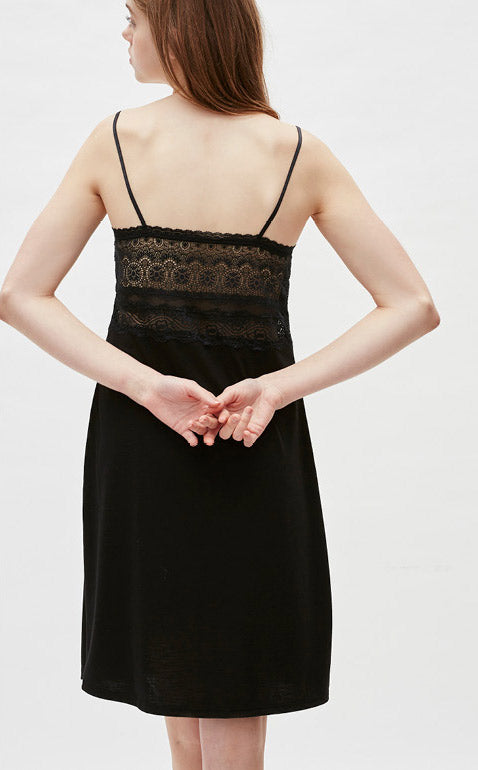 Waltz • Lace Spaghetti Strap Pyjamas Slip Dress - Peach Fleur