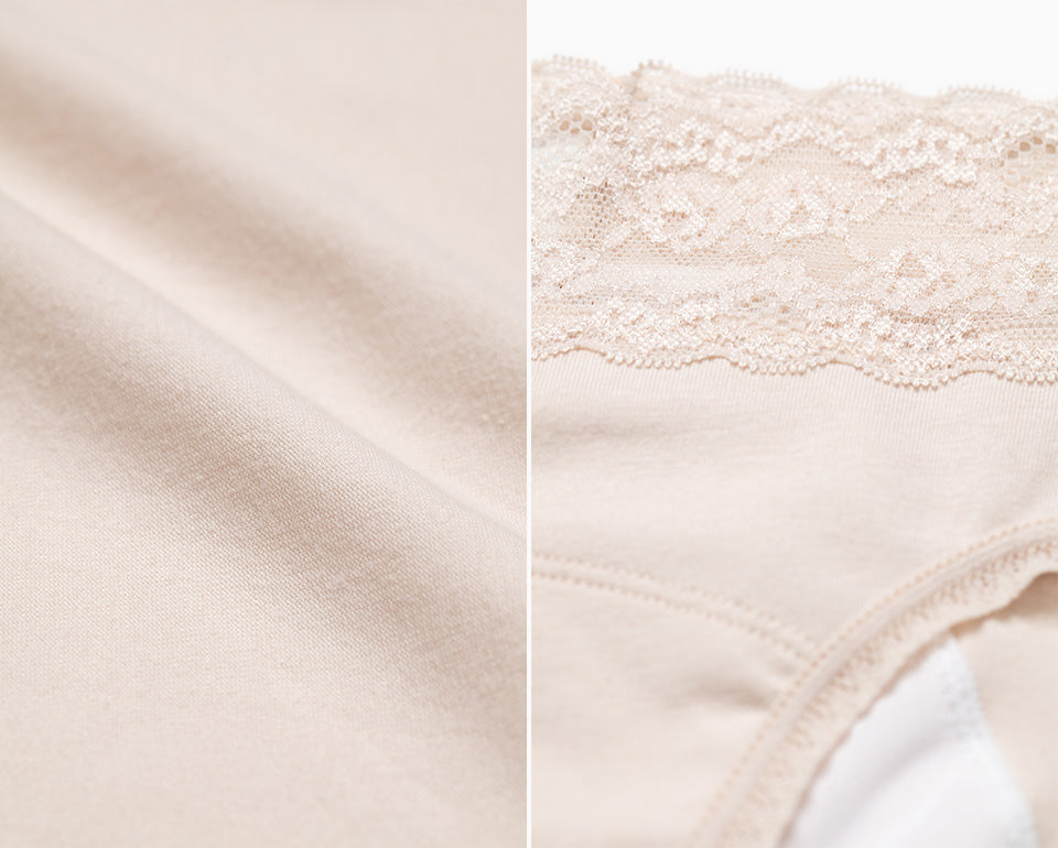 Sleep Tight • Mid Rise Cotton Lace Waist Menstrual Brief Panty - Peach Fleur