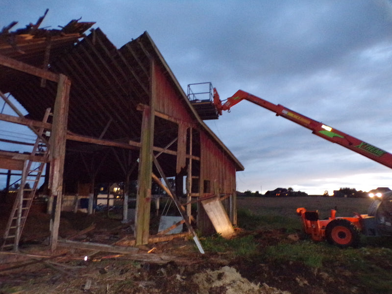 Olson Barn Deconstruction Update: Telehandler for a week means PROGRESS