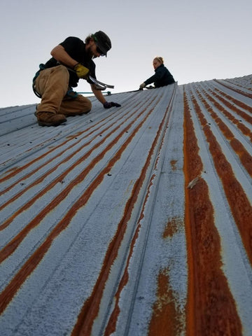 Removing Metal roofing- Larson Barn