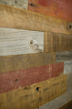 Load image into Gallery viewer,  Authentic, Reclaimed Cedar Antique Barn Wood Wall Cladding / Panels, PNW Mix of browns/Grays/Weathered Barn Red