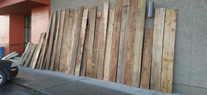 Lot of Rustic 1x12 Barn boards-250+ sq ft, reclaimed from Ferndale Bowling Alley Bar Wall