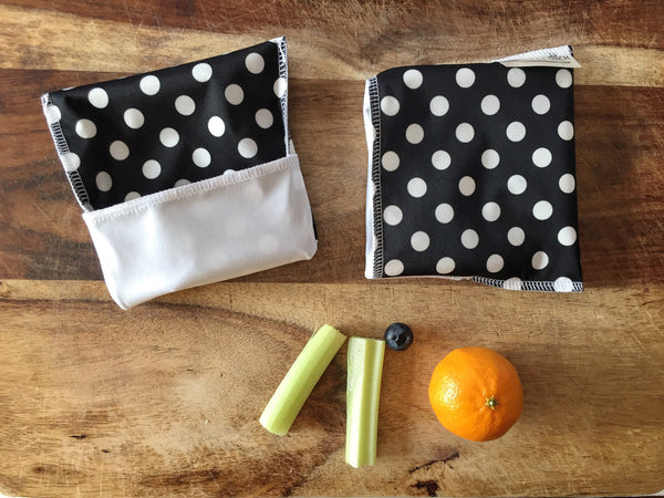 Black and White Polka Dot Snack Bags