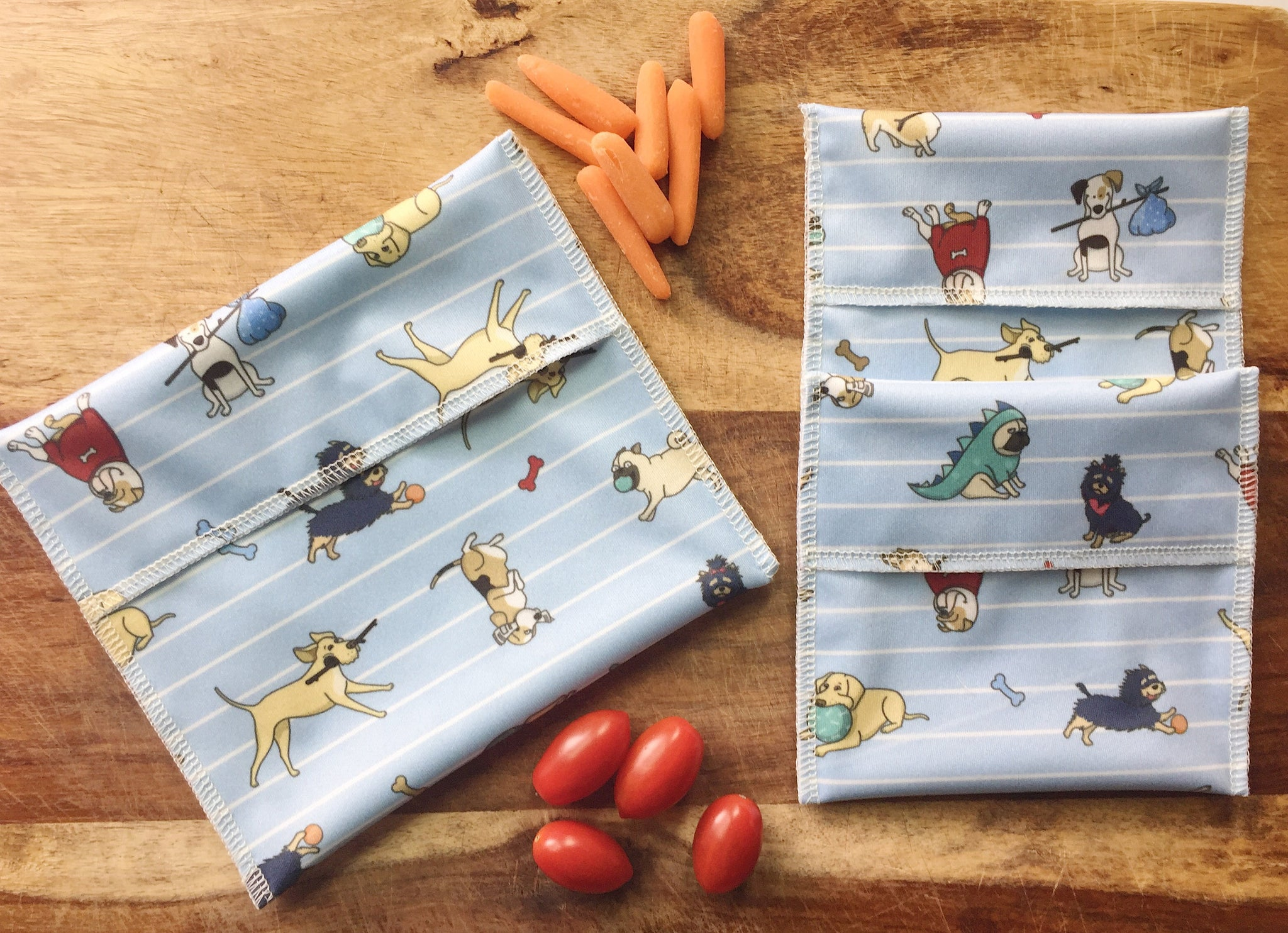 Kids Snack Bag, Reusable Snack Bags with Dogs
